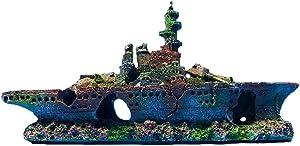 zoele Resin Damaged Navy War Boat Mini Ship Battleship Wreck Fish Tank Landscape Ornament Cave Aquarium Decoration Decor