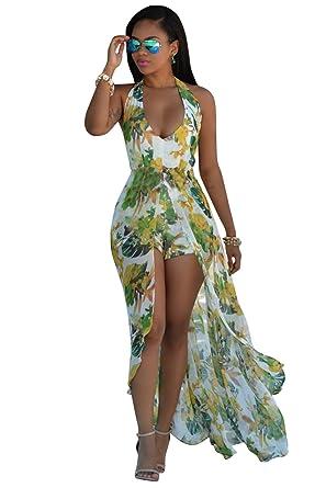 8ec156a3272 Halter Backless Floral Beach High Low Split Maxi Dress Romper Jumpsuit Green