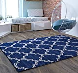 Cheap Blue Geometric Traditional Distressed 5 x 7 [ 5'3″ x 7'3″ ] Area Rug Modern Vintage Transitional Rug Soft Living Dining Room Contemporary Area Rug