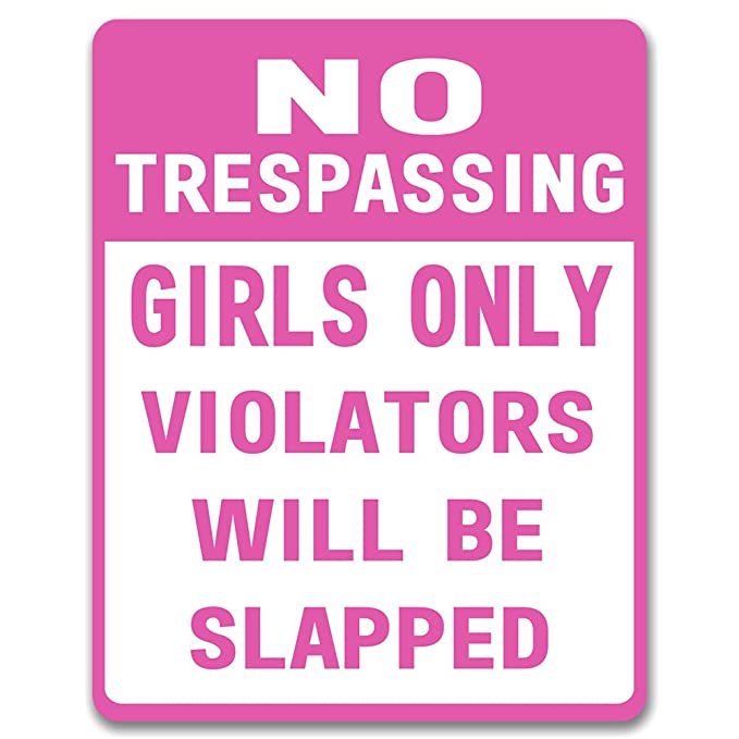 GIRLS ONLY VIOLATORS WILL BE SLAPPED Funny Door Sign Vintage Plaque