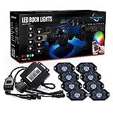 MICTUNING 8pcs RGB Rock Light Kit with Bluetooth Timing Music Control Bright LED Neon LED Light Kit