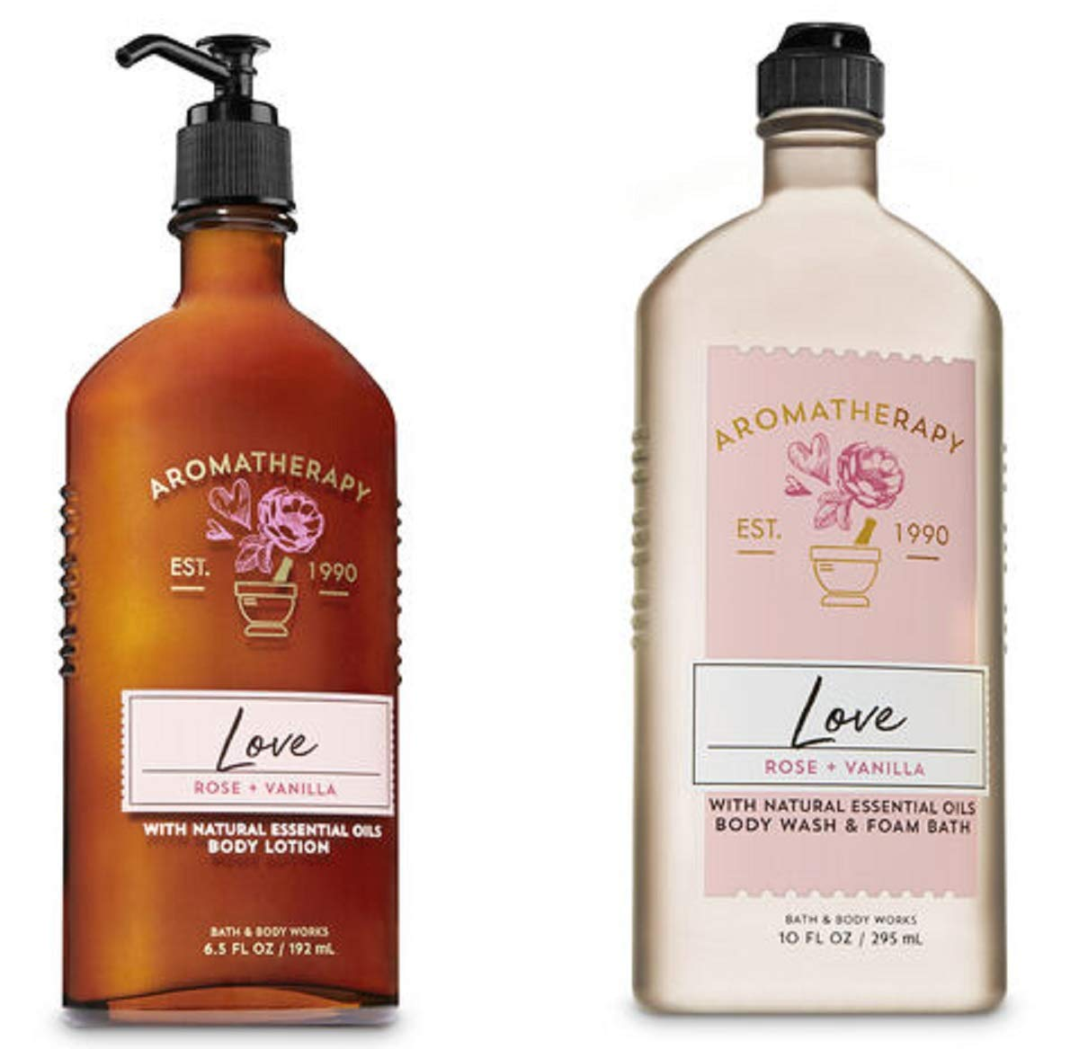 BATH AND BODY WORKS Aromatherapy LOVE - ROSE & VANILLA Duo Body Lotion and Body Wash Full Size : Beauty