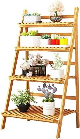 Macetas para Flores Estante\Soporte de Flores Escaleras de estanterías de jardín Interior Herbal Pots Showcase Plegable de bambú (Opciones de tamaño múltiple) Marco de tablilla: Amazon.es: Hogar