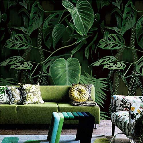 ATR Retro Tropical Rain Forest Palm Banana Leaves Mural Wallpaper Living Room Restaurant Creative Backdrop Wall Covering Home Decor (W) 430X (H) 300 cm