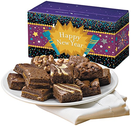 Fairytale Brownies New Year Magic Morsel Dozen Gourmet Food Gift Basket Chocolate Box - 1.5 Inch x 1.5 Inch Bite-Size Brownies - 12 Pieces