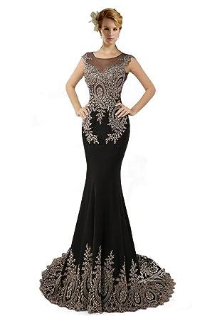 23ef53f2d181 Dearta Women's Mermaid/Trumpet Scoop Sweep Train Prom Dresses US 2 Black