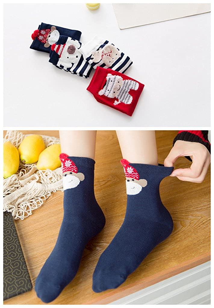 Novelty Funny Cute Animal Casual Cotton Crew Socks for Adult Girls 4 Pack