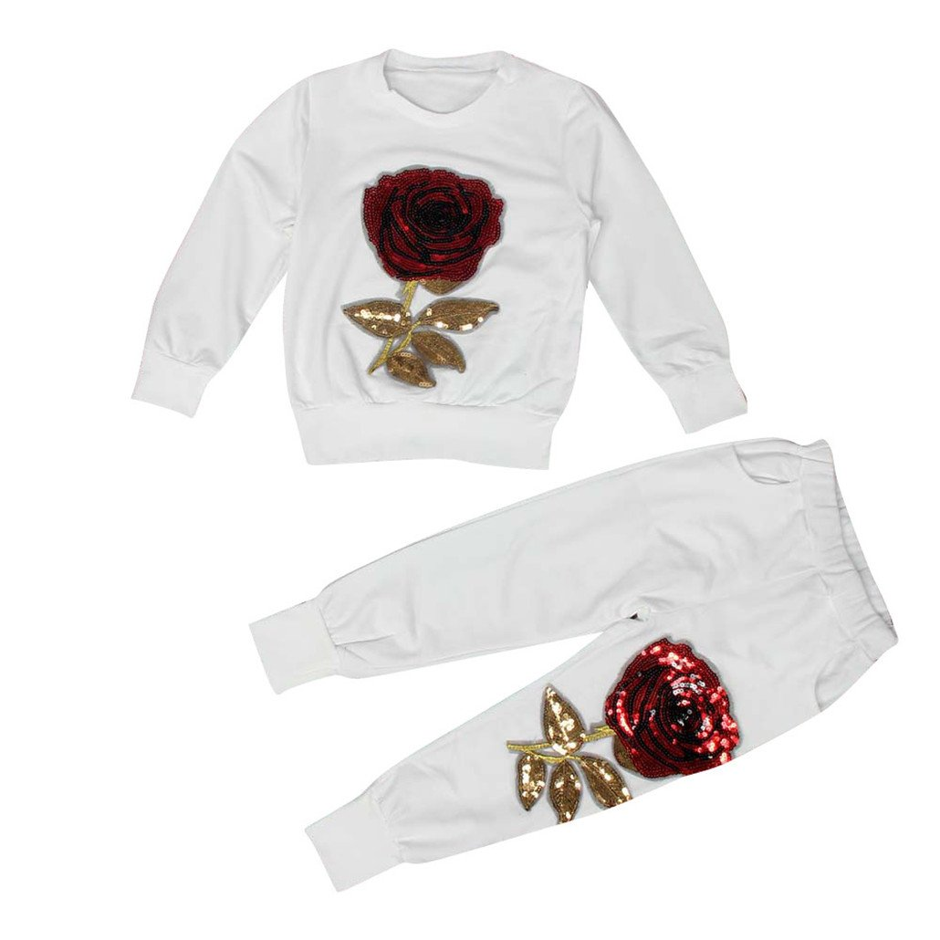 For 4-9 Years old Girls,Clode® Kids Girls Rose Embroider T-shirt Tops and Long Pants Outfits Children Clothes Clode-TS-009