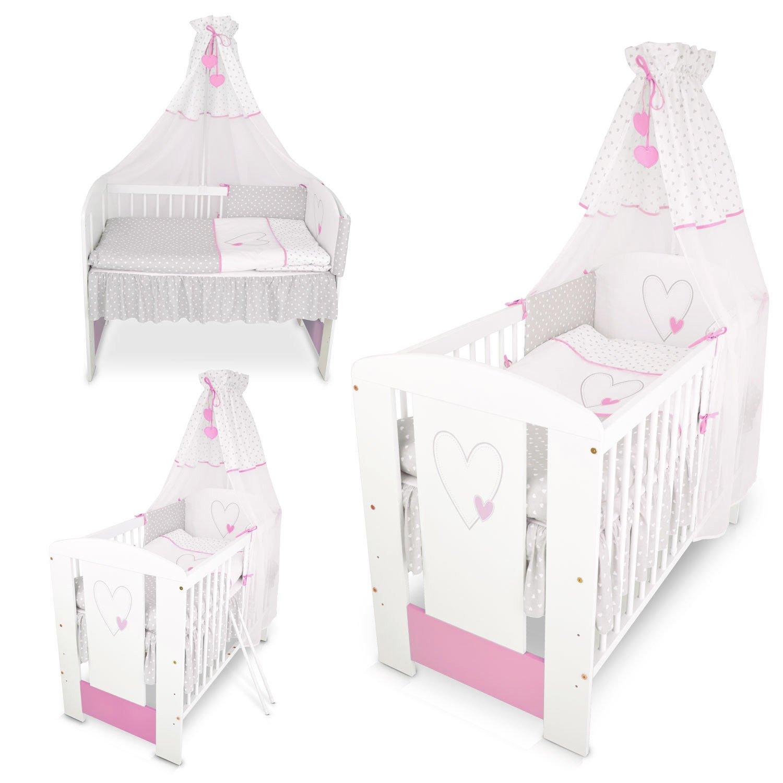 Berceau bebe lit bébé cododo 120 x 60 cm cœur rose avec Set de lit complète Klups