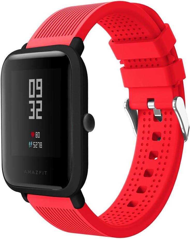 XingWangFa for Xiaomi Amazfit Straps Correas 20mm [Chuanzi Pattern] Soft Silicone Sport Correa Replacement Strap For Xiaomi Huami Amazfit Bip Younth SmartWatch-Red