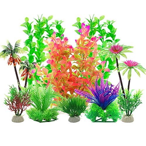 Aisamco Aquarium Plastic Plants, 10 Pcs Aquarium Plants Fish Tank Decorations, Aquarium Artificial Plants Aquarium Decoration by Aisamco