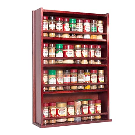 Amazoncom Spice Rack Wooden Closed Top 4 Tiers Timber