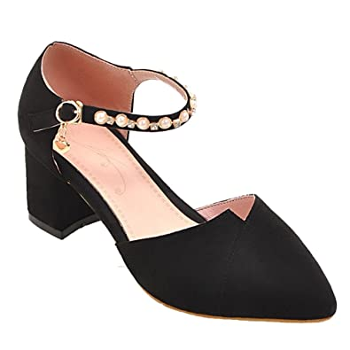 MissSaSa Damen Blockabsatz Ankle Strap Spitz Sandalen