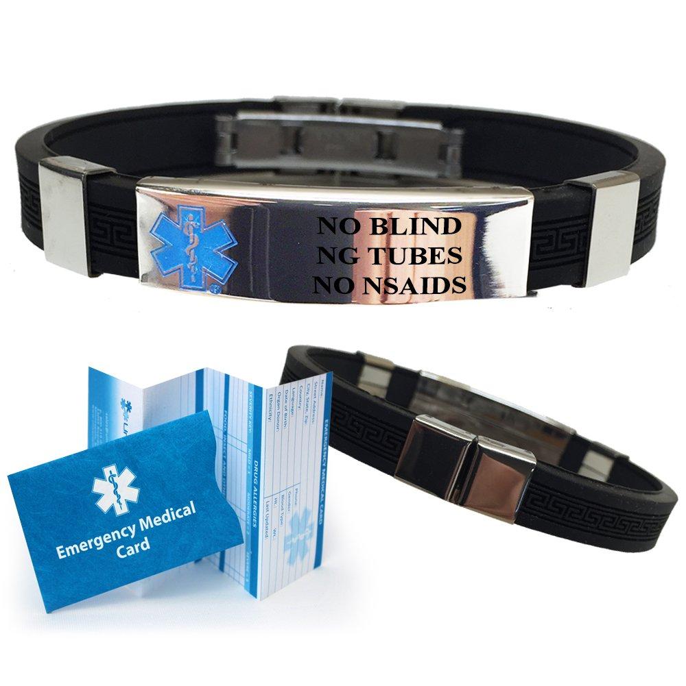 ''No Blind NG Tube No NSAIDs'' Designer Medical Alert ID Bracelet. Choose Color!