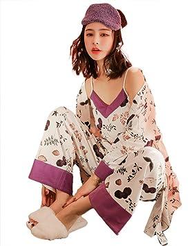 mujer kimono algodón conjunto de pijamas señoras 3 piezas suave casual ropa de dormir, M