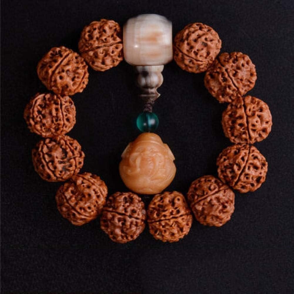 MLJSX Pulsera 20 MM Nogal Vajra Bodhi Granos de Oración Pulseras de Madera Mujeres Hombres Joyería de Madera Natural de Palo de Rosa Budista