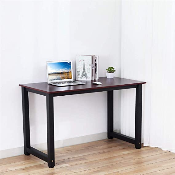 mesa para ordenador port/átil Escritorio para ordenador mesa de juegos para la oficina en casa grano de madera roja mesa de comedor escritorio de oficina o estudio de Dosleeps mesa de trabajo