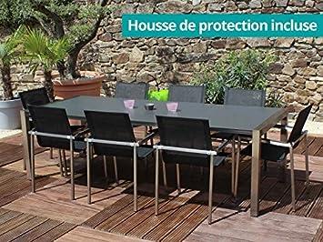 Residence - Salon De Jardin Belize En Inox Et Hpl: Amazon.fr: Jardin