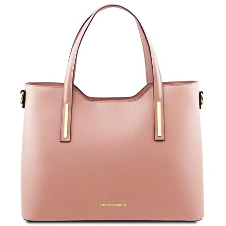 ae66afc71b Tuscany Leather Olimpia Borsa shopping in pelle Ballet Pink: Amazon ...