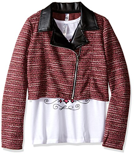 Beautees Big Girls' 2 Pc. Solid Quilted Moto Jacket with ...