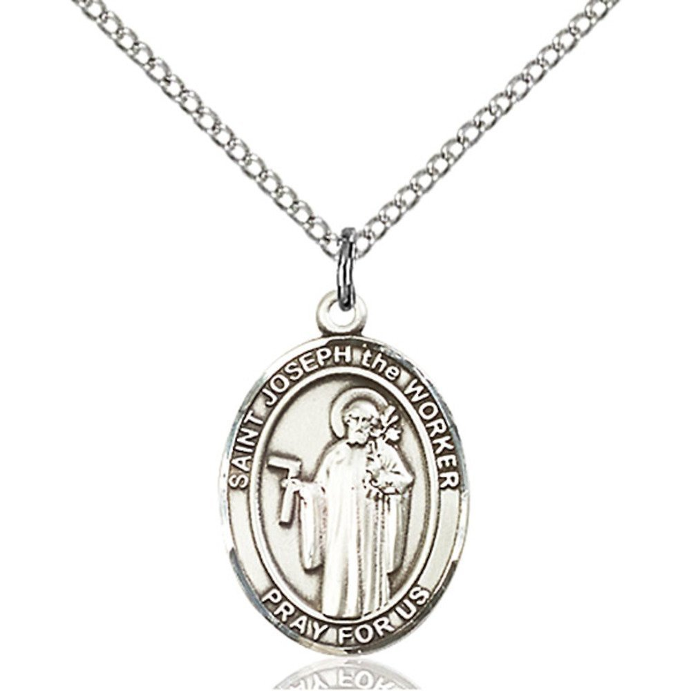 Joseph The Worker Hand-Crafted Oval Medal Pendant in Sterling Silver Bonyak Jewelry St