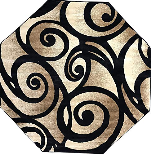 Bellagio Modern Octagon Contemporary Area Rug Black Beige Cream Swirl Design 341(5 Feet 3 Inch X 5 Feet 3 ()