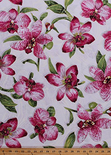 Cotton Pink Orchids Flowers Plants Leaves Floral Botanical Blooms Spring Gold Metallic Shimmer Glitter Marble Sandscapes Nature Artisan Spirit Landscape Cotton Fabric Print by Yard ()