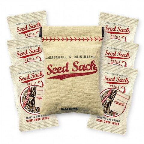 Baseball's Original Seed Sack for Sunflower Seeds (Incl. 6 one oz Seed Refills) Fits in Your Back Pocket. Take it on The - Seed Pouch