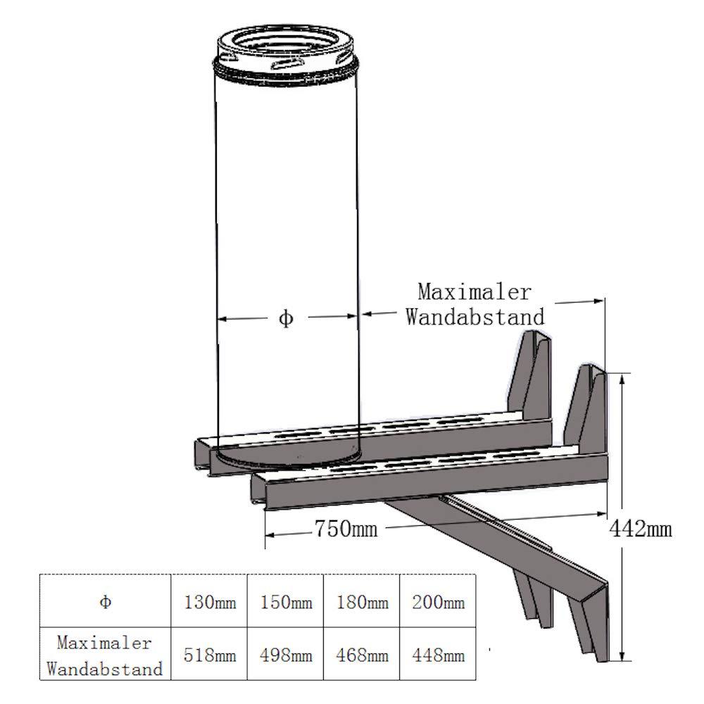 Hochwertige Edelstahl Schornsteinhalterung zur Befestigung des Schornsteins an der Wand in allen Abst/änden 1120mm Schornstein Wandkonsole