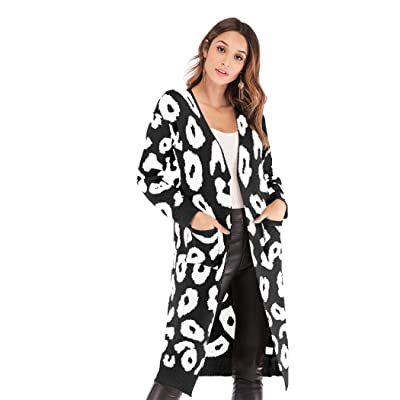 YYW Women Polka Dot Print Knit Long Cardigan Long Sleeve Open Front Sweater Cardigans Leopard Outwear Coat with Pocket (Black-2, Small) at Women's Clothing store