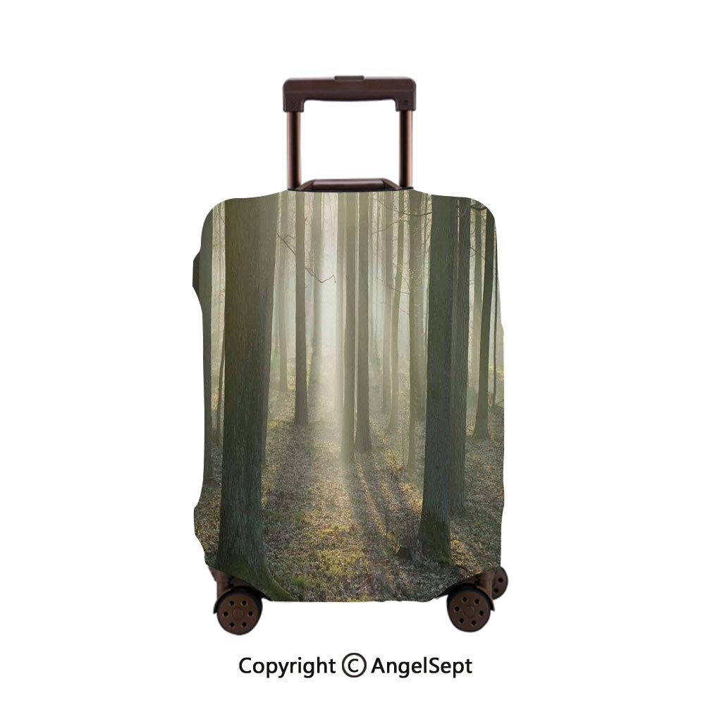 Fashion Travel Suitcase Protector Zipper,Foggy Oak Forest in Autumn Morning Sunbeams Entering From the Back Tan and White,30x40inches,Washable Print Luggage Cover