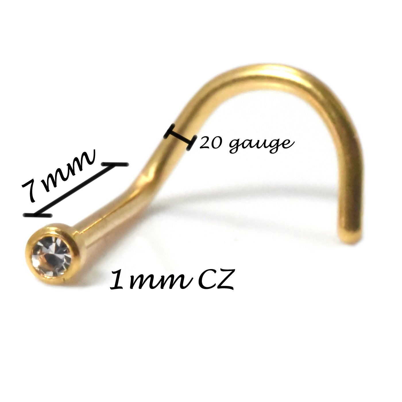 Trendy Earrings by WSI Tiny 1MM Round CZ 18k Gold Plated 316L Surgical Steel Nose Screw Thickness 20-22G