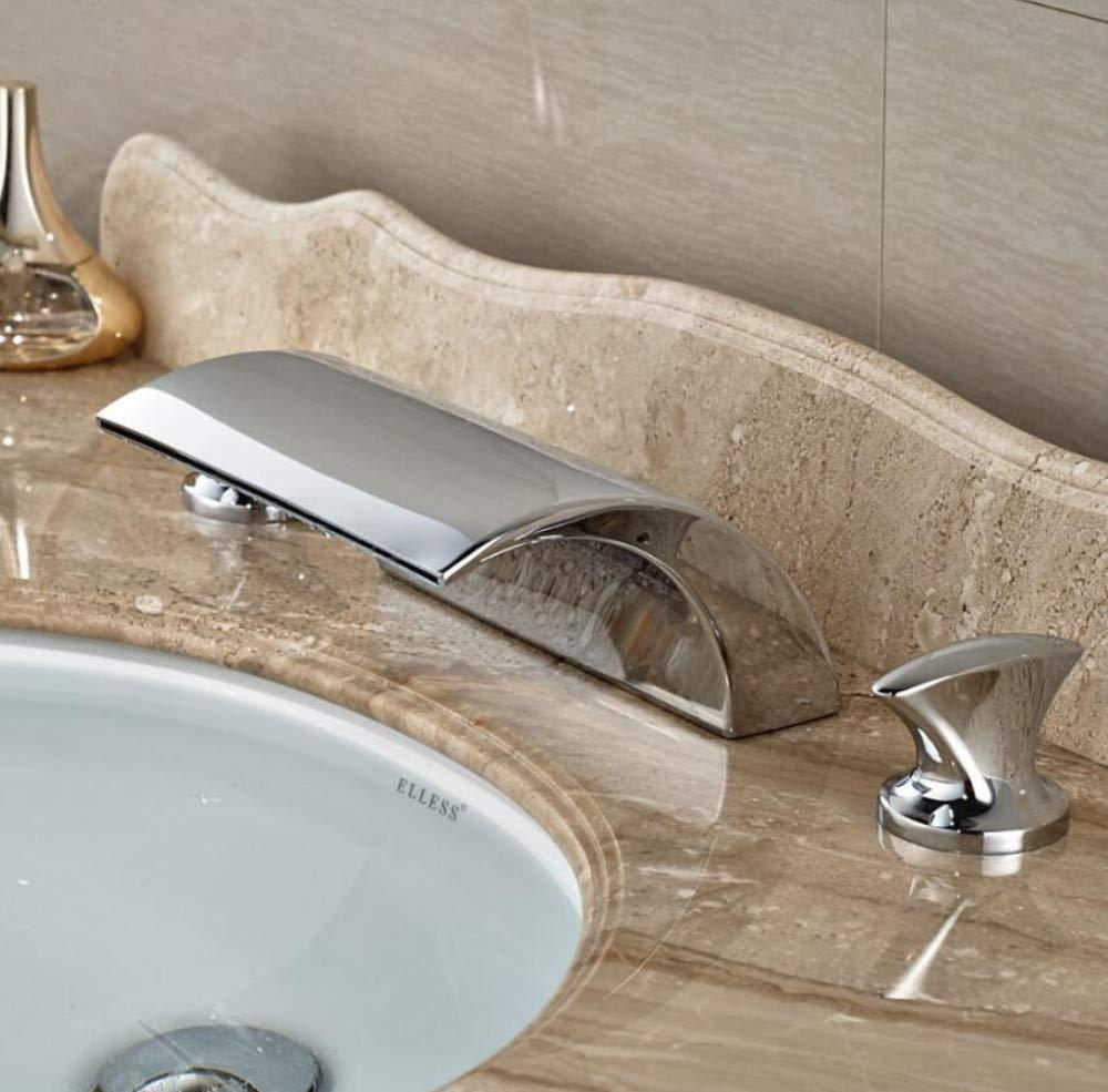 Faucet Wash Basin New Dual Handle Waterfall Bathtub Mixer Faucet Set Deck Mount Bathroom Tub Basin Sink Faucet Chrome Finish