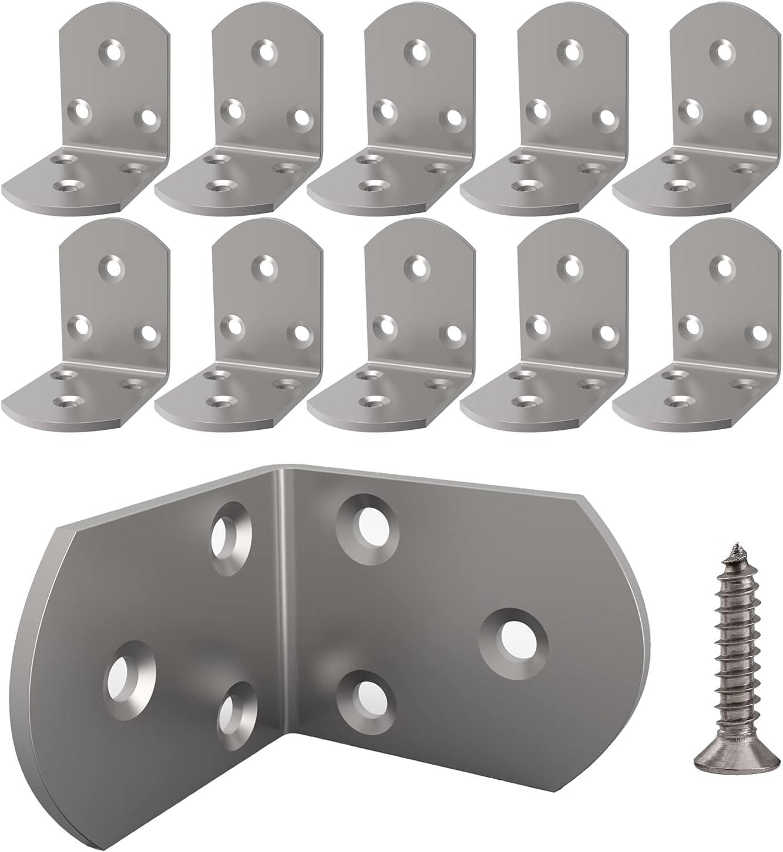 L Bracket,Heavy Duty Corner Brace,Stainless Steel Shelf Bracket, Large Angle Brackets, Metal Iron Braces Brackets for Wood(10 Pcs) (1.5x1.97x1.97x0.1'')