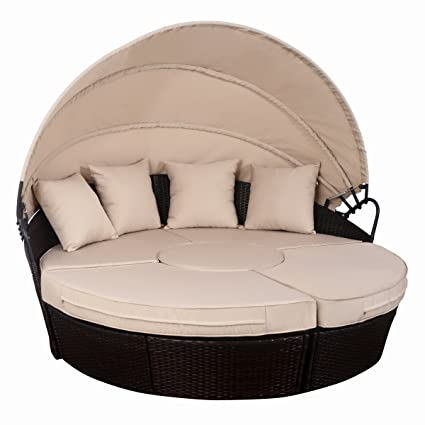 TANGKULA Patio Furniture Outdoor Lawn Backyard Poolside Garden Round With  Retractable Canopy Wicker Rattan Round Daybed
