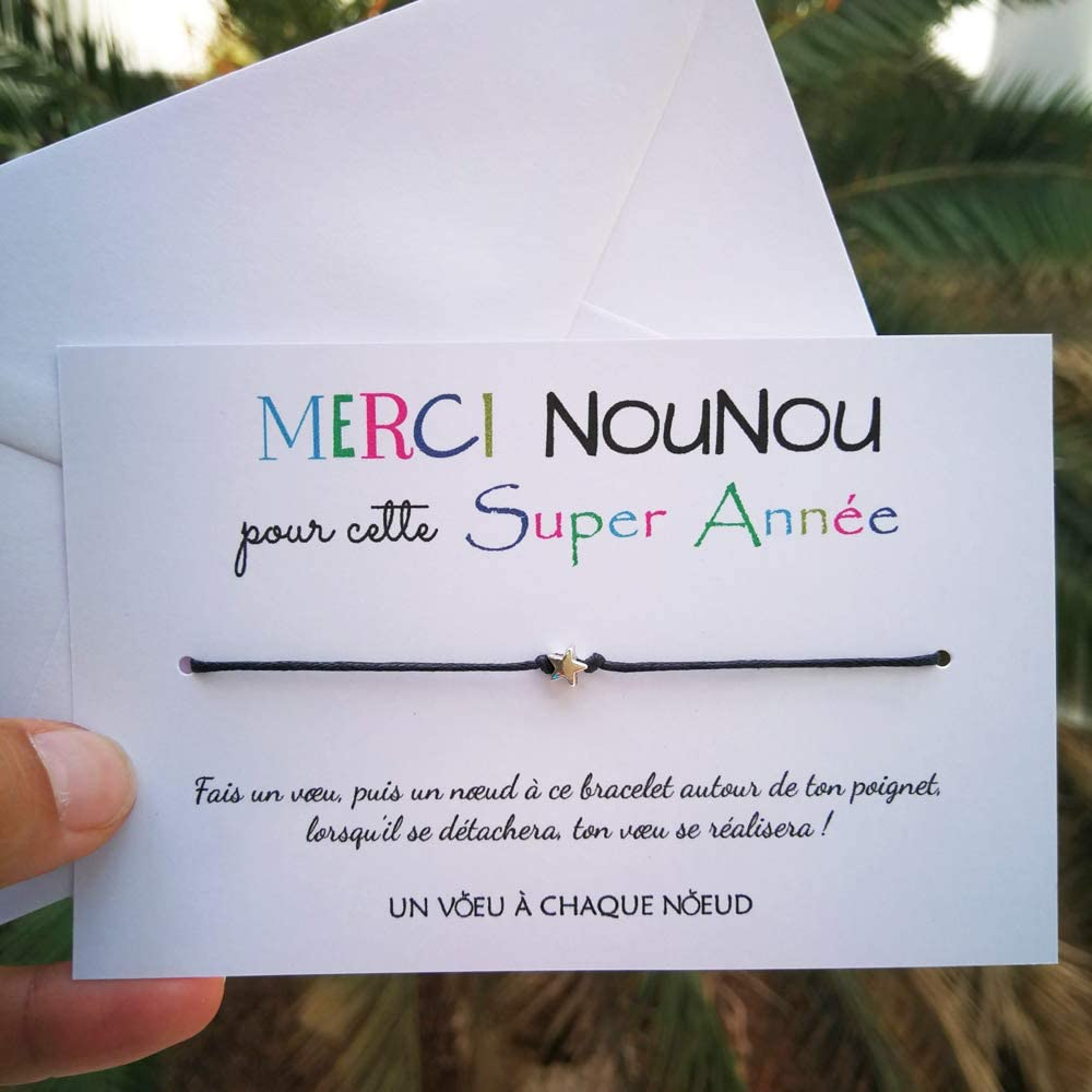 UVACN Carte de voeux Bonne Fete Maman Bonne F/ête Maman enveloppe Duo de Bracelets Porte-Bonheur 1 /étoile Fabriqu/é en France Id/ée Cadeau Original F/ête des m/ères