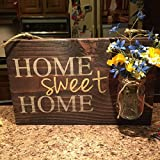 Yonor Rustic Wood Home Welcome Sign, Home Sweet
