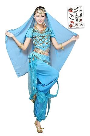 a9d09c617 ハロウィン 衣装 大人 ベリーダンス 衣装 コスプレ衣装セット アラジン ジャスミン(ライトブルー)