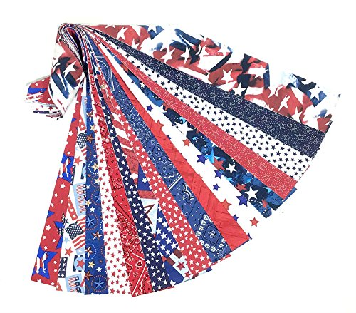 Patriotic Jelly Roll 16 Quilting Fabric Strips Red White Blue 2.5 x 43-inch Precut ()