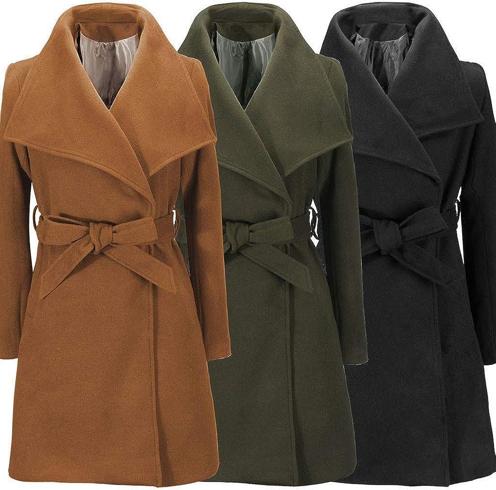 Trench Wolle Jacke Coat Womens warme Long GOKOMO Revers XiZkOPu