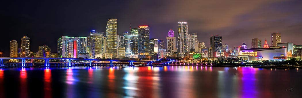 PHOTOSBYJON Miami Skyline Night 2020 Photo Poster Print UNFRAMED Color Downtown City 11.75 inches x 36 inches Archival Photographic Panorama Picture Standard Size