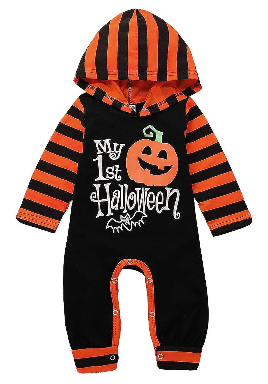 SUPEYA Baby Boys Girls Halloween Party Pumpkin Long Sleeve Hooded Rompers Jumpsuit