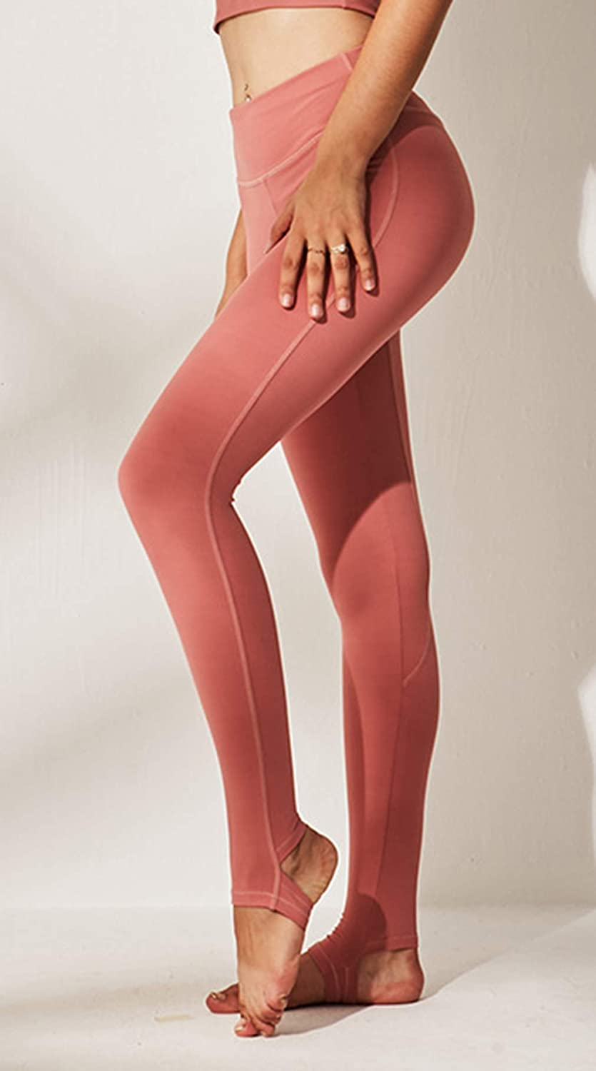 D C.Supernice Women's Yoga Pants High Waist Sports Leggings Gym Running Workout Clothes Women Stirrup Tights Ladies Joggers Brick Red
