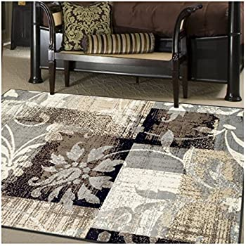 Superior Pastiche Collection Area Rug, 8mm Pile Height With Jute Backing,  Chic Geometric Floral
