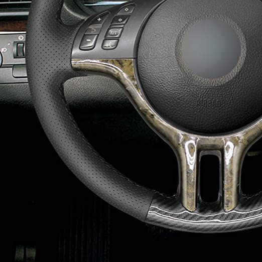 X5 E53 2000-2001 MEWANT Customized Hand-Stitch PU Carbon Fiber and Black Artificial Leather Car Steering Wheel Wrap for BMW 3 Series E46 E46//5 2000 2001 2002 2003 2001 2005