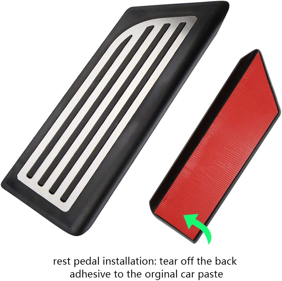 Accelerator /& Brake Pedal /& Foot Rest Pedal Pads Fit for Tesla Model 3 N//X Anti-Slip Foot Pedal Pads Auto Aluminum Pedal Covers