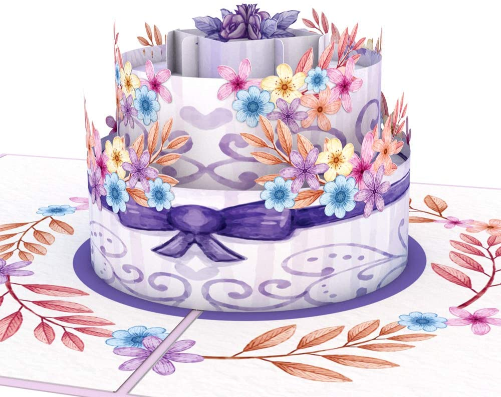 GrayStag Premium Surprise 3D Pop Up Happy Birthday Card, Popup Birthday Cake Card, Extra Large Floral Wonder Cake Greeting Card