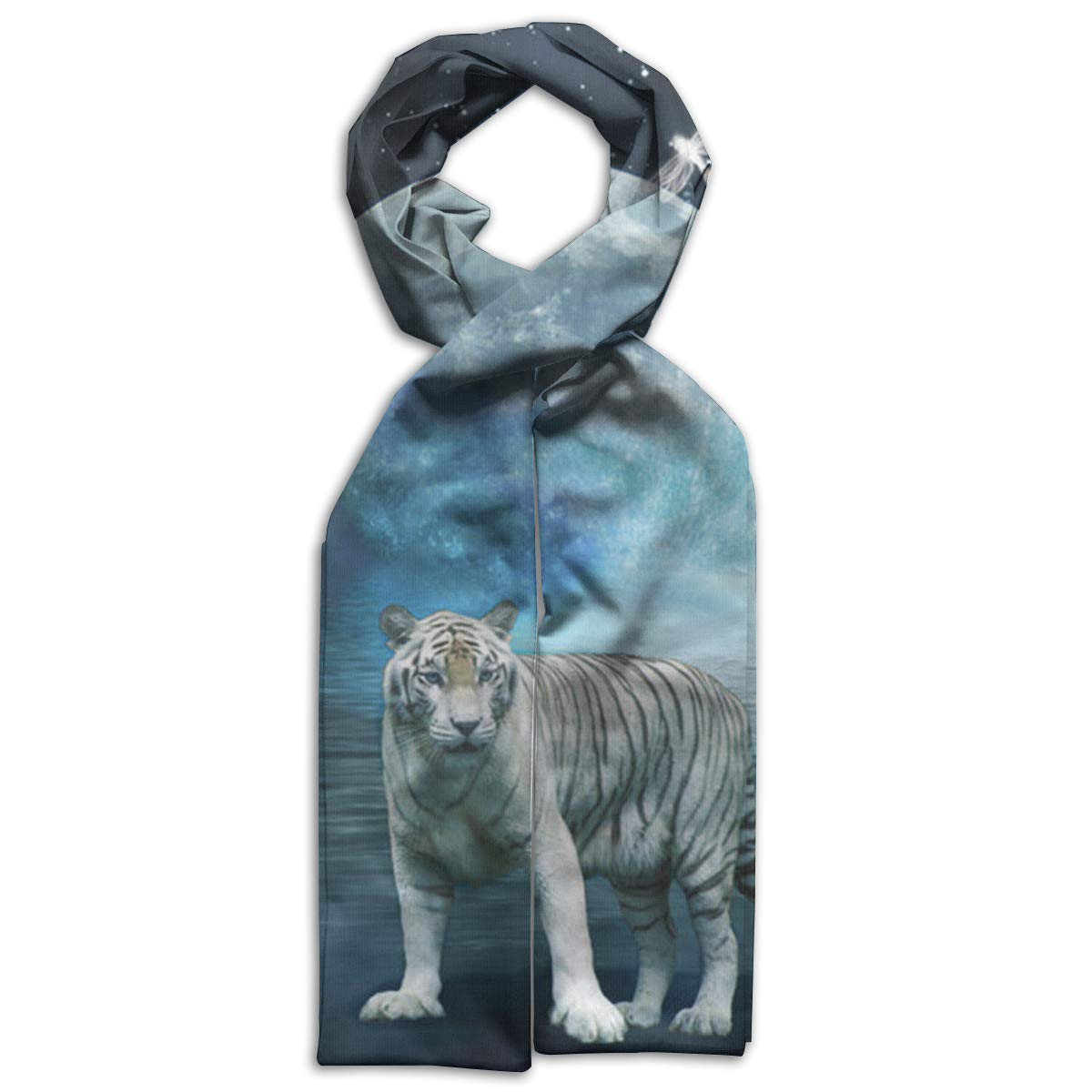 White Tiger And Moon Kids Printed Scarf Soft Winter Infinity Scarf Warmer Travel Scarf For Kids Perfect Birthday Gift
