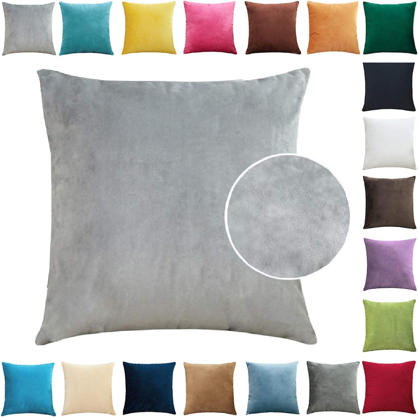 Brfash Fundas de Cojine Throw Cojín Decoración Almohada la Cubierta Hogar Sofá Coche Cama Color Sólido Elegante Terciopelo Funda de Almohada Blanco 20