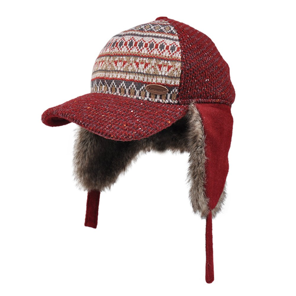 8ec4010740536 Amazon.com: Kenmont Women's Earflap Cap Winter Wool Knit Hat Faux Rabbit  Fur Ear Flap Baseball Cap (Dark Red): Clothing